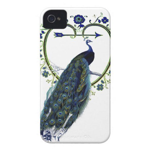 Stunning Peacock and ornate heart flower frame iPhone 4 Case-Mate Case