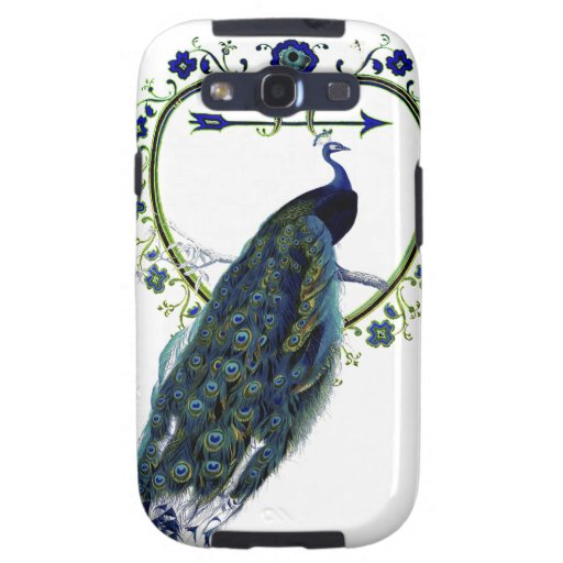 Stunning Peacock and ornate heart flower frame Samsung Galaxy SIII Covers