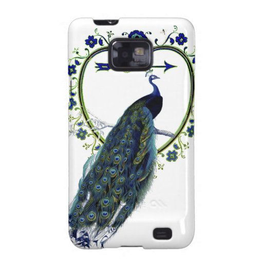Stunning Peacock and ornate heart flower frame Samsung Galaxy S2 Cases