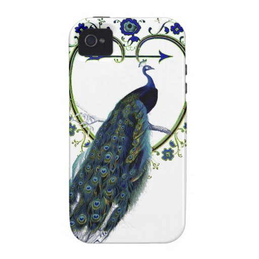 Stunning Peacock and ornate heart flower frame Case-Mate iPhone 4 Covers