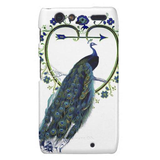 Stunning Peacock and ornate heart flower frame Motorola Droid RAZR Covers