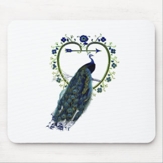 Stunning Peacock and ornate heart flower frame Mouse Pad