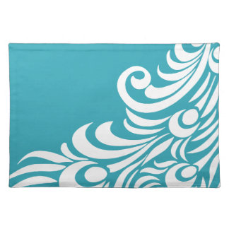 Stunning Peacock Feather Silhouette Print Placemat