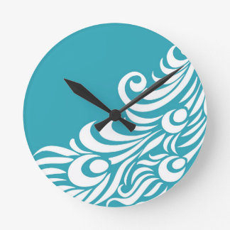 Stunning Peacock Feather Silhouette Print Round Clock