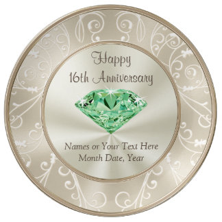 Stunning Personalized 16th Anniversary Gifts Plate