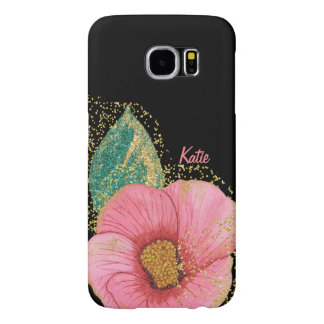 Stunning Pink and Gold Hibiscus Samsung S6 Case