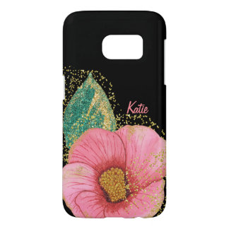 Stunning Pink and Gold Hibiscus Samsung S7 Case