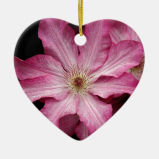 Stunning pink clematis print ceramic heart decoration