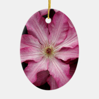 Stunning pink clematis print ceramic oval decoration