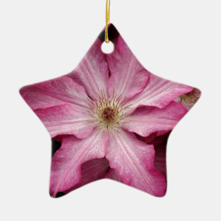 Stunning pink clematis print ceramic star decoration