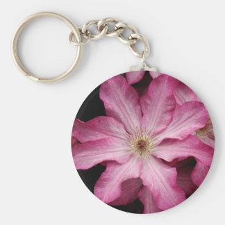 Stunning pink clematis print key chain