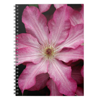 Stunning pink clematis print spiral note book