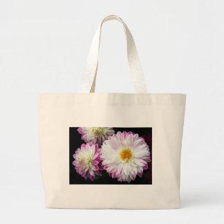 Stunning pink dahlia print canvas bag