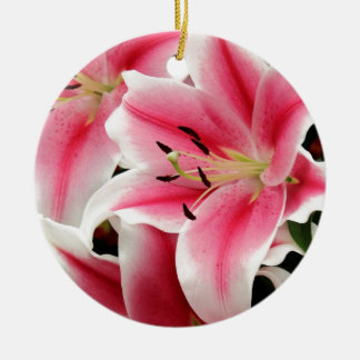 Stunning pink lily print christmas ornament