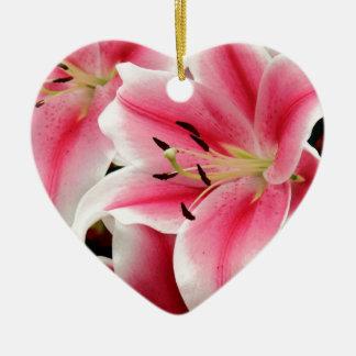 Stunning pink lily print christmas ornament