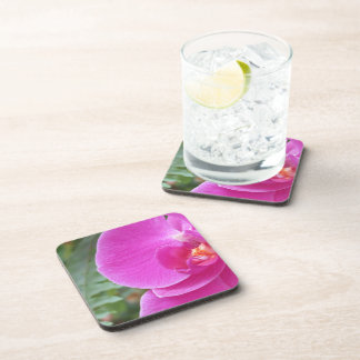 Stunning pink orchid design cork-backed coasters