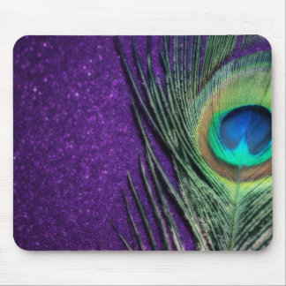 Stunning Purple Peacock Mouse Mat