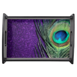 Stunning Purple Peacock Serving Tray