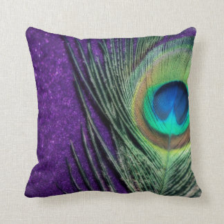 Stunning Purple Peacock Throw Pillow