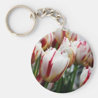 Stunning red and white tulip print keychain
