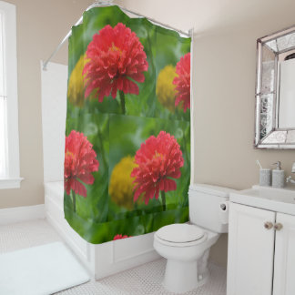 Stunning Red And Yellow Zinnias Shower Curtain