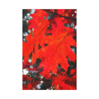 Stunning Red Maple Leaf Painting Canvas Print