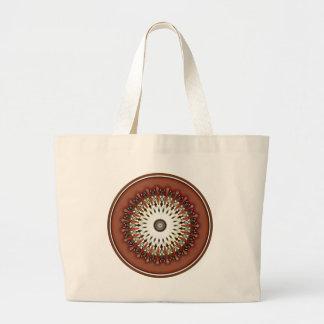Stunning rich bronze copper mandala kaleidoscope large tote bag