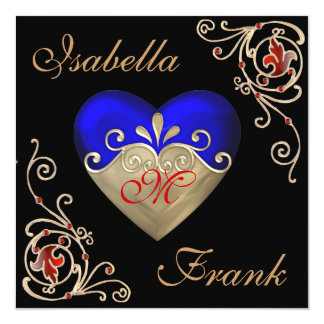 STUNNING ROYAL BLUE Wedding Invitation GOLD Heart