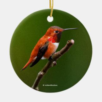 Stunning Rufous Hummingbird on the Cherry Tree Round Ceramic Decoration