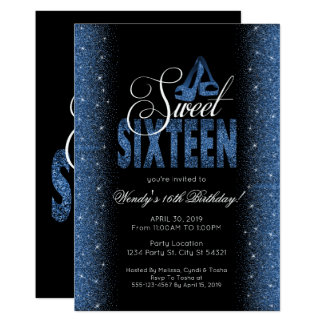Stunning Sapphire Blue Sweet 16 Party Invitations