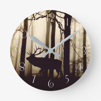 Stunning silhouette of stag round clock