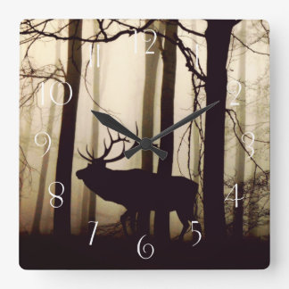 Stunning silhouette of stag square wall clock