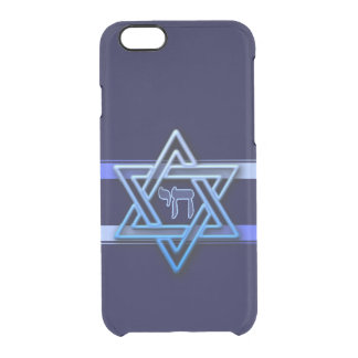Stunning Star of David and chai on deep blue Clear iPhone 6/6S Case