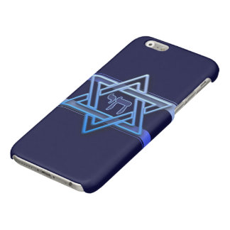 Stunning Star of David and chai on deep blue iPhone 6 Plus Case