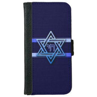 Stunning Star of David and chai on deep blue iPhone 6 Wallet Case