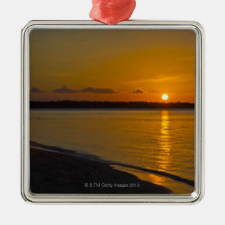 Stunning Tropical Sunset Silver-Colored Square Decoration