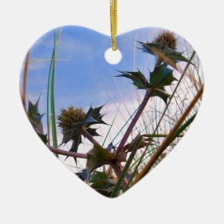 Stunning Unique Eye Catching Thistle Ceramic Heart Decoration