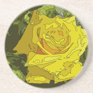 Stunning Vibrant Yellow Rose Painting Coaster