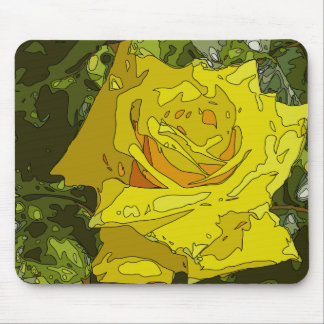 Stunning Vibrant Yellow Rose Painting Mousepads
