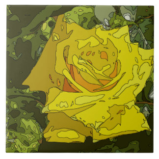 Stunning Vibrant Yellow Rose Painting Tile