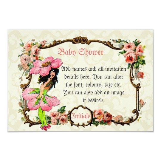 Stunning vintage art pink fairies baby girl shower card