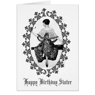 Stunning Vintage Woman Black Lace Birthday Sister Card