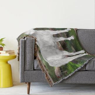 Stunning White Horse Fantasy Scene Throw Blanket