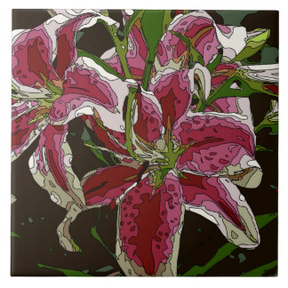 Stunning White Lily Flowers Ceramic Tiles