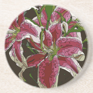 Stunning White Lily Flowers Beverage Coasters