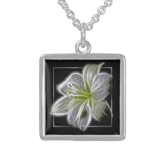 Stunning White Lily fractal Art Sterling Silver Necklace