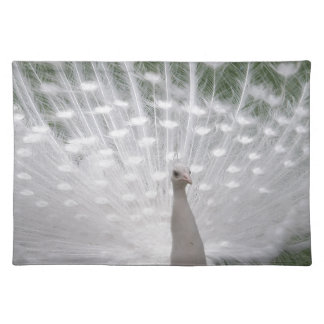 Stunning white Peacock ( Peafowl) full plume Placemat
