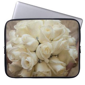 Stunning White Rose Wedding Bouquet Laptop Sleeve