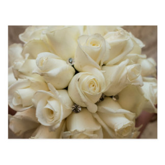 Stunning White Rose Wedding Bouquet Postcard
