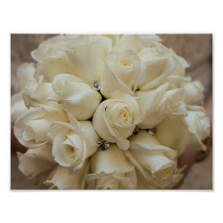 Stunning White Rose Wedding Bouquet Poster